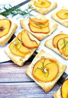 Peach, Rosemary, & Brie Tartlets recipe - a little sweet + savory.