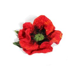 Felt red poppy  Felted  red  brooch Felt от FantasticSilkFelt