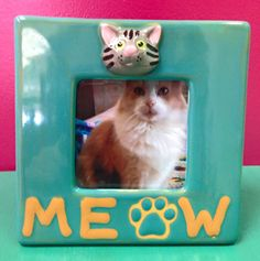 Adding a cute cat to a Small Square Picture Frame is all this needs!