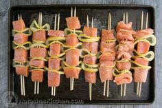 Easy grilled salmon skewers with garlic and dijon. This salmon kebabs recipe is a keeper! Salmon Fish Tacos, Grilled Salmon Kabobs, Salmon Skewers, Grilled Salmon Recipes, Tilapia Recipes, Baked Salmon, Seafood Recipes, Grilled Fish, Salmon Dishes