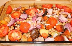 Veggie Roast  8 small potatoes  2 baby carrots  2 sweet potatoes  1 red onion  handful cherry tomatoes  ½c chickpeas (soaked over night)  cilantro, rosemary & dill     Chop all veggies. Cook potatoes and carrots at350 for 45 min.  Add tomato, onion, chickpeas & herbs, cook for another 15 min.     When veggies are done, remove from the oven & cool before adding dressing: 1 clove garlic, pressed & 2T flaxseed oil.