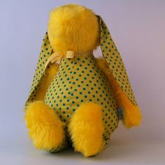 Yellow with dots soft cuddly bunny toy
