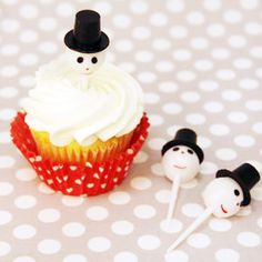 Sweet Snowman Cupcake Toppers