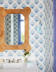 Vibrant Colors, Lively Patterns Brighten A Florida Cottage Interior Trim, Bathroom Interior Design, Bathroom Designs, Bathroom Ideas, Bathroom Goals, Bathroom Vanities, Interior Styling, Master Bathroom, Tiny Powder Rooms
