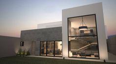Fachada posterior / Norte: Casas de estilo Moderno por Nova Arquitectura
