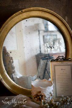 ronde spiegel bois dore
