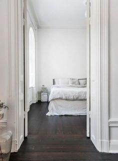 Serene bedroom with dark wooden floor Home, Bedroom Inspirations, Home Bedroom, Bedroom Interior, Minimalist Bedroom, Bedroom Design, Bedroom Styles, Bedroom Wooden Floor, Blue Rooms
