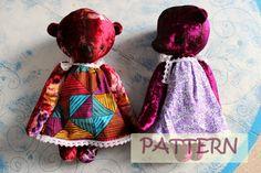 PATTERN for 15 inch artist bear in a dress diy teddy bear pattern