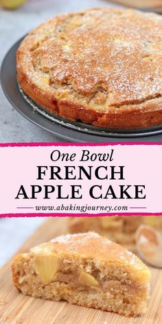 Easy French Apple Cake (One Bowl Only!) This super easy One Bowl French Apple Cake recipe is the perfect dessert to whip up in 30 minutes. The One-Bowl Apple Cake is super Moist and Light - great to enjoy with your afternoon tea or to finish a heavy meal! Easy French Recipes, French Dessert Recipes, Apple Dessert Recipes, Easy Cake Recipes, Sweet Recipes, Baking Recipes, Cooking Apple Recipes, Light Dessert Recipes, Apple Recipes Easy