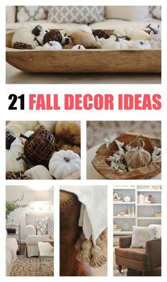 Looking for simple ideas to decorate for fall? Here are tons of living room fall decor ideas and simple projects for the fall season. Fall living room. Farmhouse fall ideas. Neutral decorating. Neutral fall decor ideas.