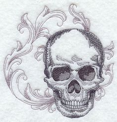 BAROQUE SKULL - Machine Embroidered Quilt Blocks (AzEB) on Etsy, $8.95