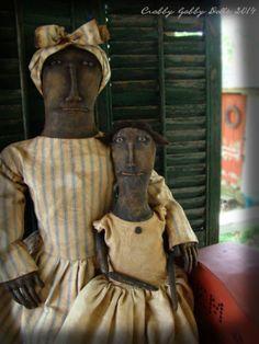 Crabby Gabby Very Primitive Black Mother Child Doll Set w Stitchery | eBay