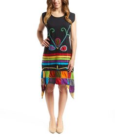 This Black & Rainbow Embroidered Sidetail Dress is perfect! #zulilyfinds