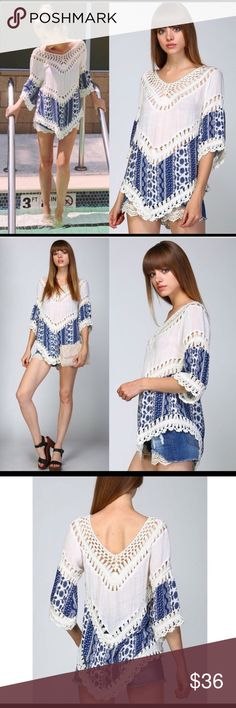 ✨ SANTERIA - Blue & White Boho Top, NWT Beautiful, eye-catching boho top with super soft crochet detailing around perimeter of V-neck and V-bottom hemline. Retro-inspired look of the 60-70's sexpot vibe meets trending West Coast celebrity boho. Can be worn as top paired with shorts, leggings or skinny jeans -- or can be thrown over a bathing suit for the perfect coverup. Lightweight fabric and feel is perfect piece to vibe into spring & summer! Brand new w/ tags. Size: Medium. Mystic by…