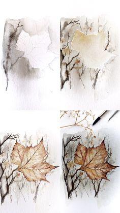 (@rosies.sketchbook) Steps of creating a fall maple leaf.