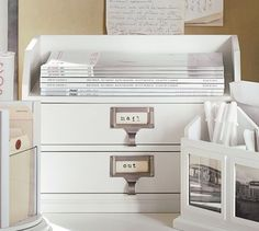 Bedford Two-Drawer Paper Organizer, Antique White from Pottery Barn. With two good sized drawers for storage, and a top that can be used as a catch all, this organizer helps to keep my desktop tidy.