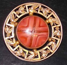 Beautiful Early 1&3/4 Inch Brass Button with Rose Quartz Color Glass & Gold Dust