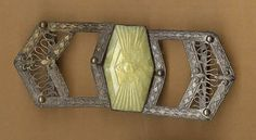 vintage czech brass buckle yellow pressed by beadtopiavintage
