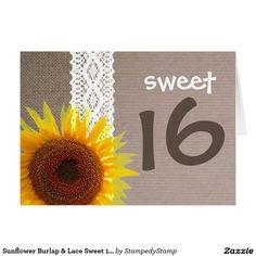 Sunflower Burlap & Lace Sweet 16 Birthday Invite Card