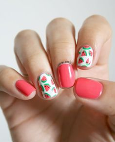 The best ideas about Watermelon Nail Art - Watermelon Nail Designs, Watermelon Nail Art, Simple Nail Art Designs, Nail Designs Spring, Summer Acrylic Nails, Summer Nails, Prego, Nail Polish Art, Nagel Gel