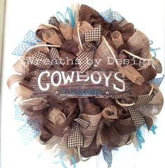 Items similar to Western Cowboys Welcome Wreath on Etsy Christmas Mesh Wreaths, Deco Mesh Wreaths, Holiday Wreaths, Door Wreaths, Etsy Wreaths, Floral Wreaths, Cowboy Crafts, Western Crafts, Western Decor