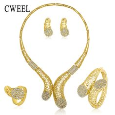 African Beads Jewelry Sets For Women Imitated Rhinestone Necklace Earrings Bracelet Ring Bridal Gold Color Party Accessories