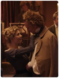 """William and Peggy in """"Return to Cranford""""// Despite the fact that his hair looks like it was electrocuted, I still find this sweet. After all, it is Tom Hiddleston."""