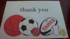 I'm selling Sports Party Thank You Cards - pack of 10 - A$5.00 #onselz