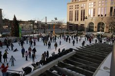 Ice skating at Red Arrow Park - downtown Milwaukee Wisconsin