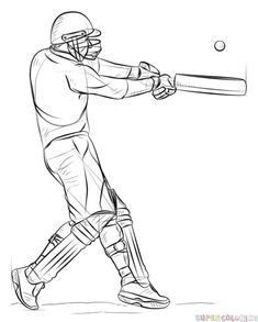 How to draw a cricket player step by step. Drawing tutorials for kids and beginners. Cricket Logo, Cricket Bat, Cricket Sport, Cricket World Cup, Cricket Books, Meaningful Tattoos For Men, Cricket Coaching, Drawing Tutorials For Kids, Drawing Ideas
