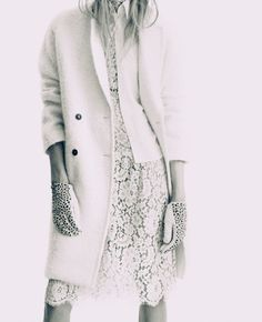 white lace and a classic trench