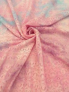 New Arrival! Pastel Pink/Purple/Blue Tie-Dye Stretch Lace 48W
