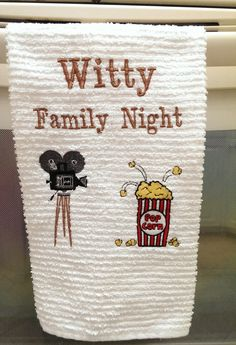 """Custom Towels, Personalized Dish Hand Towel, Kitchen Towel, """"Family Night"""" Movie & Popcorn, Towels Embroidered Housewarming Gift Ideas. - pinned by pin4etsy.com"""