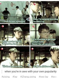 Lay becoming amazed once again by his own self and group. xD