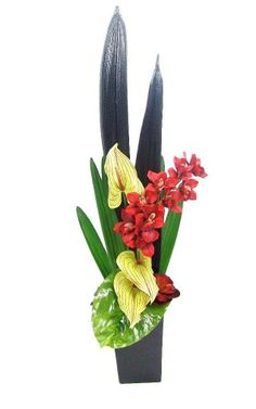 Red Cymbidium Orchid, Palm pods and Antheriums - Branches 334 Fitzgerald St North Perth WA