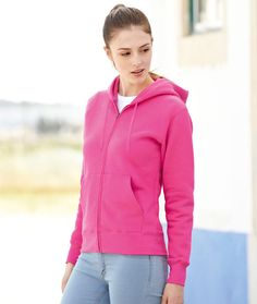 FRUIT OF THE LOOM Felpa a giacca donna Cappuccio foderato Cerniera zip coperta
