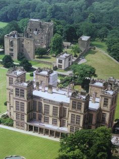 England Travel Inspiration - Hardwick Hall, Derbyshire showing the ruins of the old Hall. Bess built the new house in her 70's. She ran the old and new hall side by side, it is why the new house did not have to be that large.