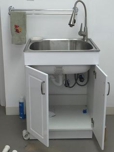 Glacier Bay All In One 24 2 X 21 3 33 8 Stainless Steel Laundry Sink With Faucet And Storage Cabinet Ql033 The Home Depot