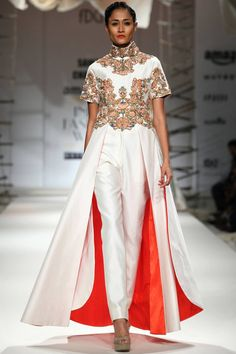 Ivory silk thread embroidered dress with ivory pants available only at Pernia's Pop Up Shop.#samantchauhan #newcollection #straightofftherunway #aifwss16 #festive #clothing #designer #shopnow