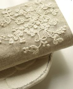 Embroidered Fabric Lace Cotton Fabric Cloth -DIY Cloth Art Manual Cloth -Embroidery Cotton Lace Gauze Daisy 55x18Inches. $18.90, via Etsy.