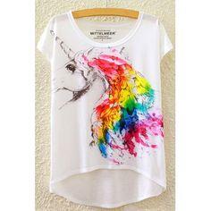06d638e15f26 Élégant col rond manches courtes Unicorn Imprimer Haut-Bas T-shirt Hem  femmes Colorful