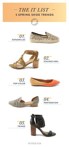 We've organized 5 of our favorite spring shoe trends to get started in style. From espadrilles to the much-needed relief of a stacked heel, here are the shoes you'll love this season.