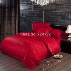 high quality wedding jacquard silk cotton duvet cover bedding set 4pcs queen king bed sheet set