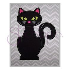 Halloween Black Cat Applique by StitchtopiaInc on Etsy