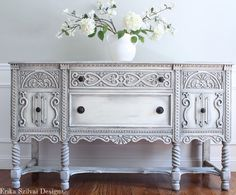 Antique Ornate Carved Jacobean Hand Painted French Country Shabby Chic Weathered White Grey Buffet Sideboard Cabinet. The finish is a hand painted antique distressed textured weathered antique white and grey finish. ~ $1450 by FrenchCountryDesign on Etsy https://www.etsy.com/listing/474192955/rare-antique-ornate-carved-jacobean-hand