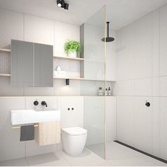A bathroom suite for the one who loves the simplicity of lines lines and lines. Melbourne Residential project and Image courtesy of Bathroom Suite, Bathroom Remodel Shower, Laundry In Bathroom, House Bathroom, Shower Room, Modern Bathroom, Amazing Bathrooms, Scandinavian Homewares, Bathroom Inspiration