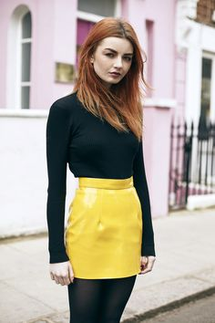 www.streetstylecity.blogspot.com More pictures on the blog. Be inspired by the people in the street! yellow mini skirt pvc
