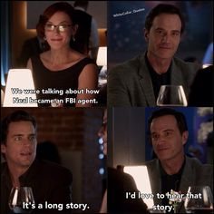 Awkward date. Neal, Rebecca and Peter. White collar quotes