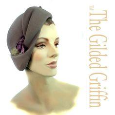 Romantic Vintage 1930s Hat Styled with Purple Azalea Trim