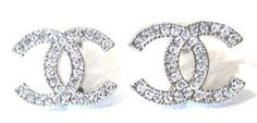 Chanel Crystal Earrings Silver CC 2014 Classic Stud New Authentic